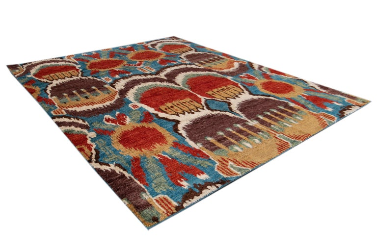 Colorful Modern Moroccan-Style Handmade Wool Rug For Sale 8