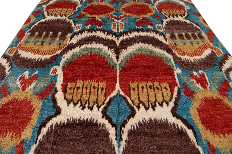 Colorful Modern Moroccan-Style Handmade Wool Rug For Sale 9