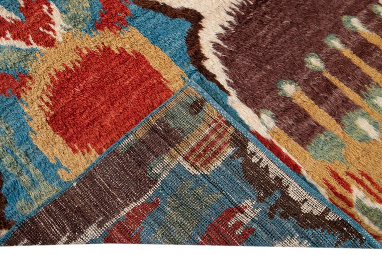 Colorful Modern Moroccan-Style Handmade Wool Rug For Sale 10