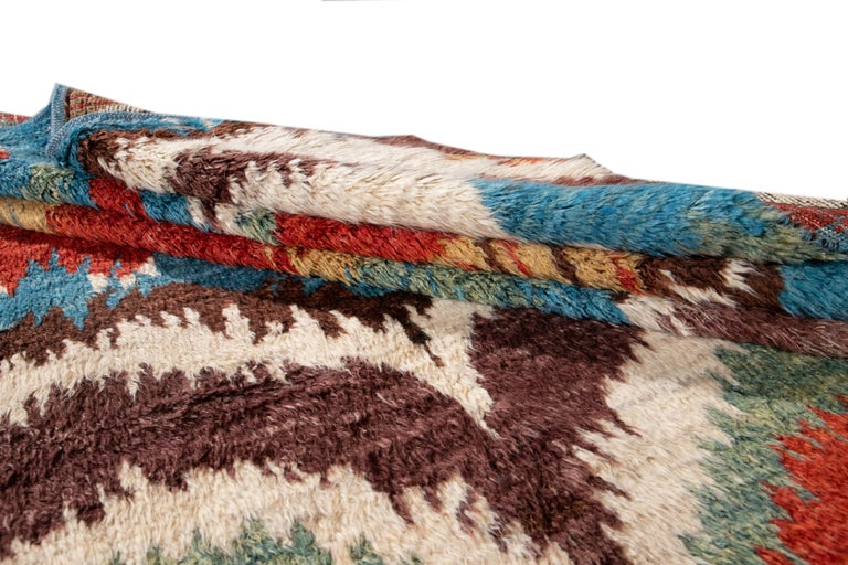 Colorful Modern Moroccan-Style Handmade Wool Rug For Sale 11