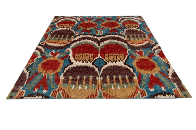 Hand-Knotted Colorful Modern Moroccan-Style Handmade Wool Rug For Sale