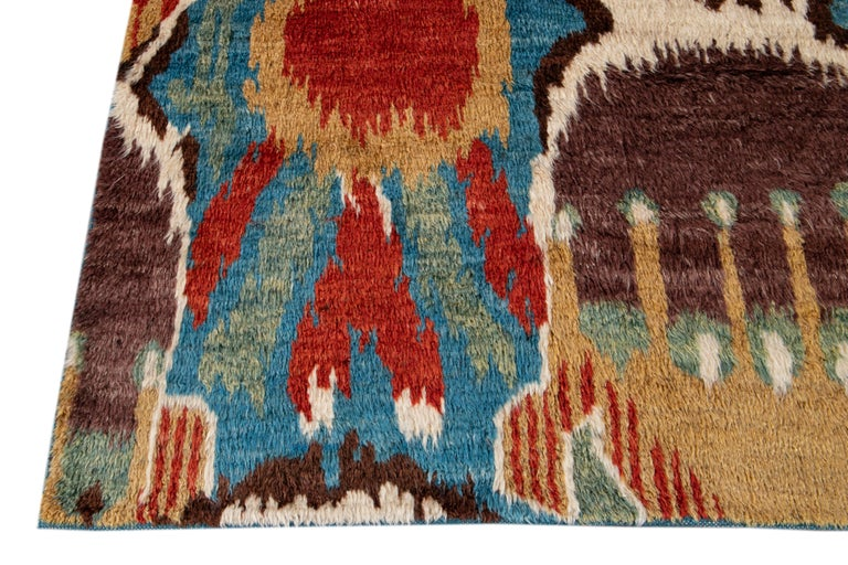 Colorful Modern Moroccan-Style Handmade Wool Rug In New Condition For Sale In Norwalk, CT