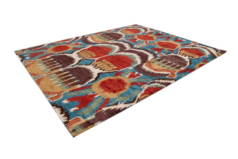 Colorful Modern Moroccan-Style Handmade Wool Rug For Sale 1