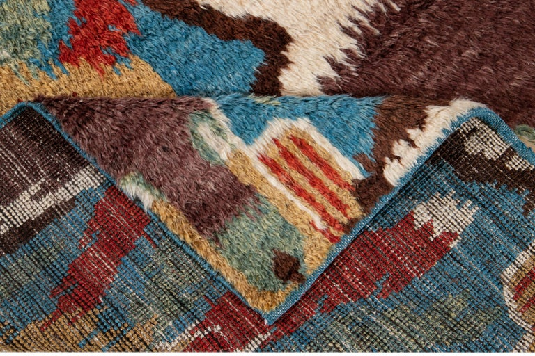 Colorful Modern Moroccan-Style Handmade Wool Rug For Sale 2