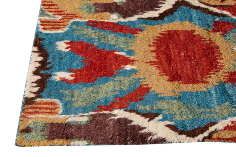 Colorful Modern Moroccan-Style Handmade Wool Rug For Sale 3