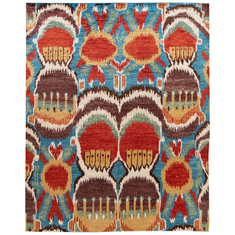 Colorful Modern Moroccan-Style Handmade Wool Rug For Sale