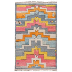 Colorful Modern Turkish Art Deco Style Handmade Wool Rug