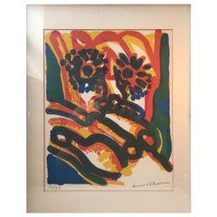 Colorful Modernist Cobra Lithograph by Bengt Lindström, 1925-2008, No. 16/99