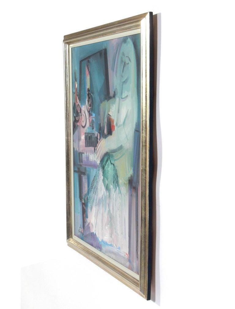 Colorful modernist painting by Mula Ben-Haim, Israeli, circa 1960s. Retains it's original silver leaf wood frame.