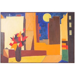Colorful Modernist Painting on Canvas