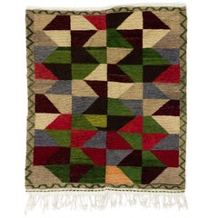 Mid-Century Modern Tulu Rug with Colorful Triangles