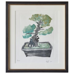 Colorful Monotype of a Bonsai Tree by Cyril Kuhn