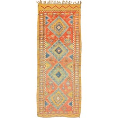 Colorful Moroccan Runner in Orange, Blue, Yellow and Gold Colors