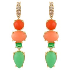 Colourful Multi-Stone Coral, Emerald And Diamond 18 Karat Gold Earrings
