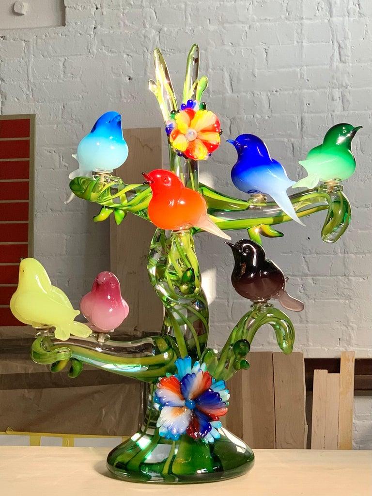 Colorful Murano Glass Birds in a Tree Sculpture, Enrico Cammozzo, Italy, 1970s For Sale 4