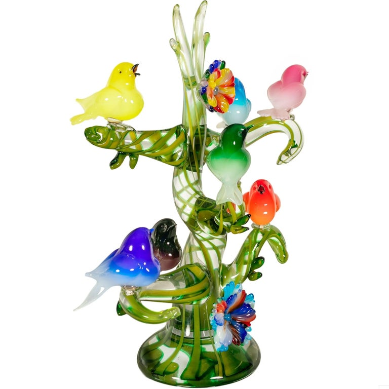 Mid-Century Modern Colorful Murano Glass Birds in a Tree Sculpture, Enrico Cammozzo, Italy, 1970s For Sale