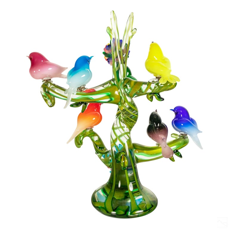 Colorful Murano Glass Birds in a Tree Sculpture, Enrico Cammozzo, Italy, 1970s In Good Condition For Sale In Brooklyn, NY