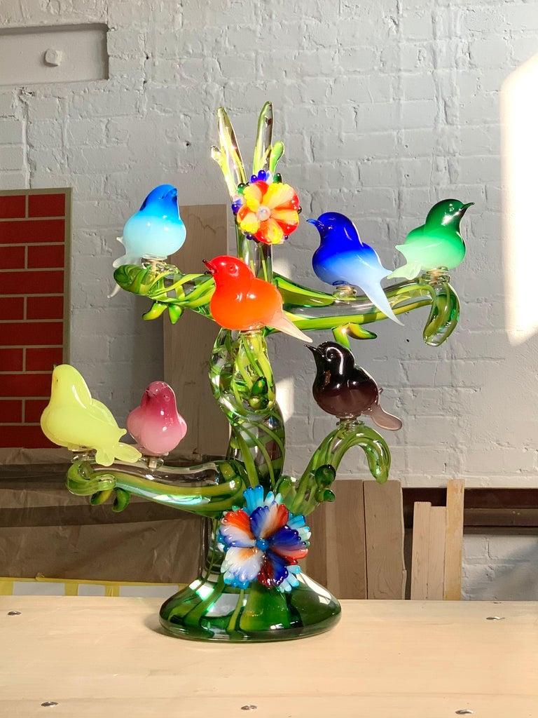 20th Century Colorful Murano Glass Birds in a Tree Sculpture, Enrico Cammozzo, Italy, 1970s For Sale