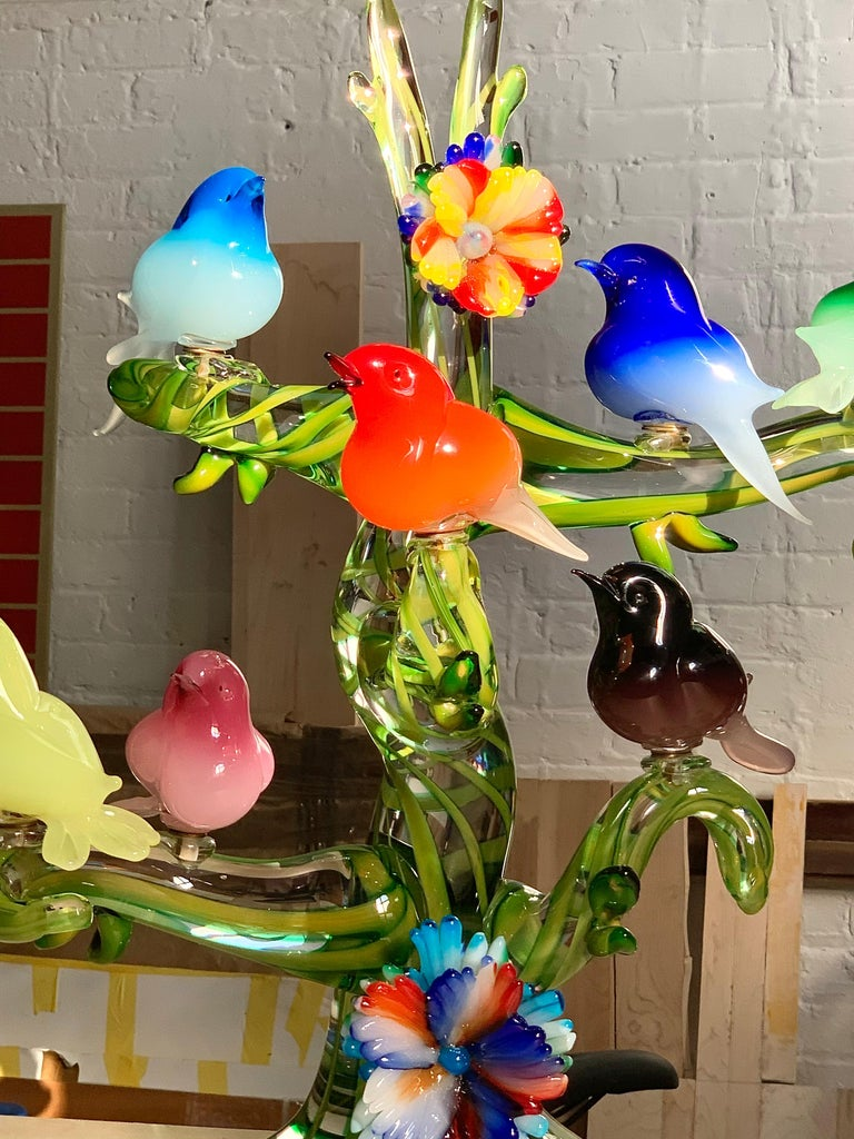 Art Glass Colorful Murano Glass Birds in a Tree Sculpture, Enrico Cammozzo, Italy, 1970s For Sale