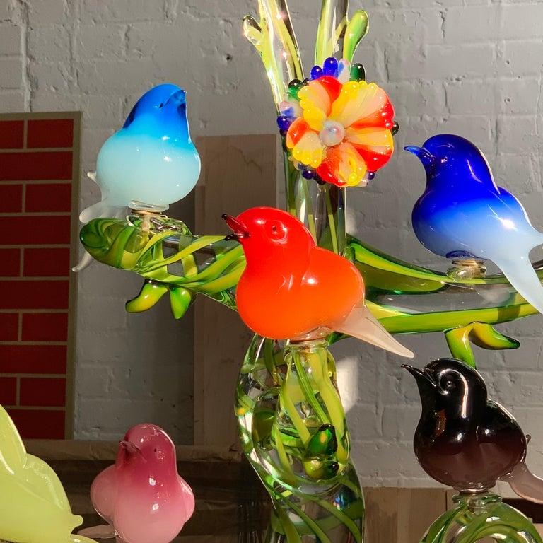Colorful Murano Glass Birds in a Tree Sculpture, Enrico Cammozzo, Italy, 1970s For Sale 1