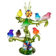Colorful Murano Glass Birds in a Tree Sculpture, Enrico Cammozzo, Italy, 1970s