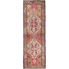 Colorful Oushak Runner in Rose Red, Green, Blue and Brown
