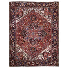 Colorful Oversized Persian Heriz, Clean, Hand Knotted Oriental Rug