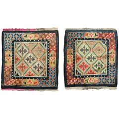 Colorful Pair of Tibetan Rug Mats