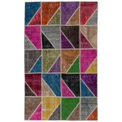 Colorful Patchwork Rug Made of Vintage Anatolian, Custom Options Available