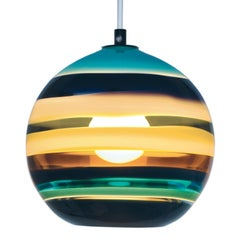 Colorful Pendant Lighting, Aqua Banded Orb, Hand Blown Glass