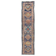 Colorful Persian Antique Karajeh Runner in Blue and Brown