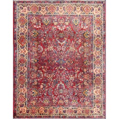 Colorful Persian Sarouk Carpet with Detailed and Intricate Floral Motifs