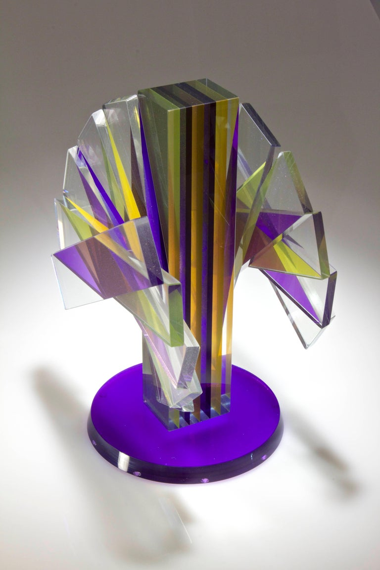Modern Colorful Pigmented Laminated Plate Glass Contemporary Sculpture For Sale