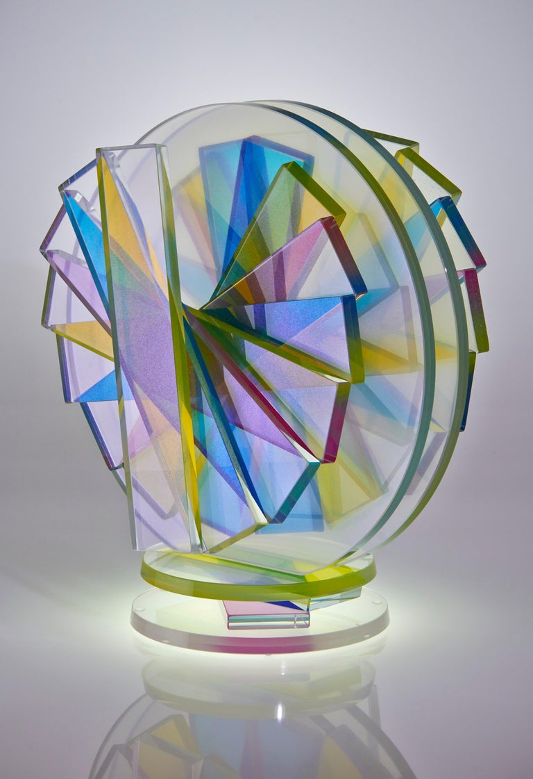 Modern Contemporary Colorful Plate Glass Tabletop Sculpture For Sale