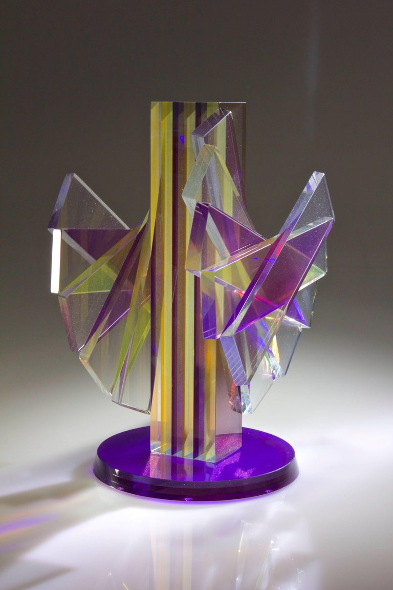American Colorful Pigmented Laminated Plate Glass Contemporary Sculpture For Sale