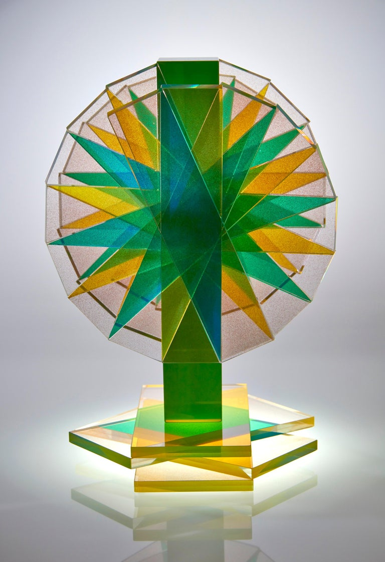 American Green & Yellow Plate Glass Contemporary Tabletop Sculpture For Sale