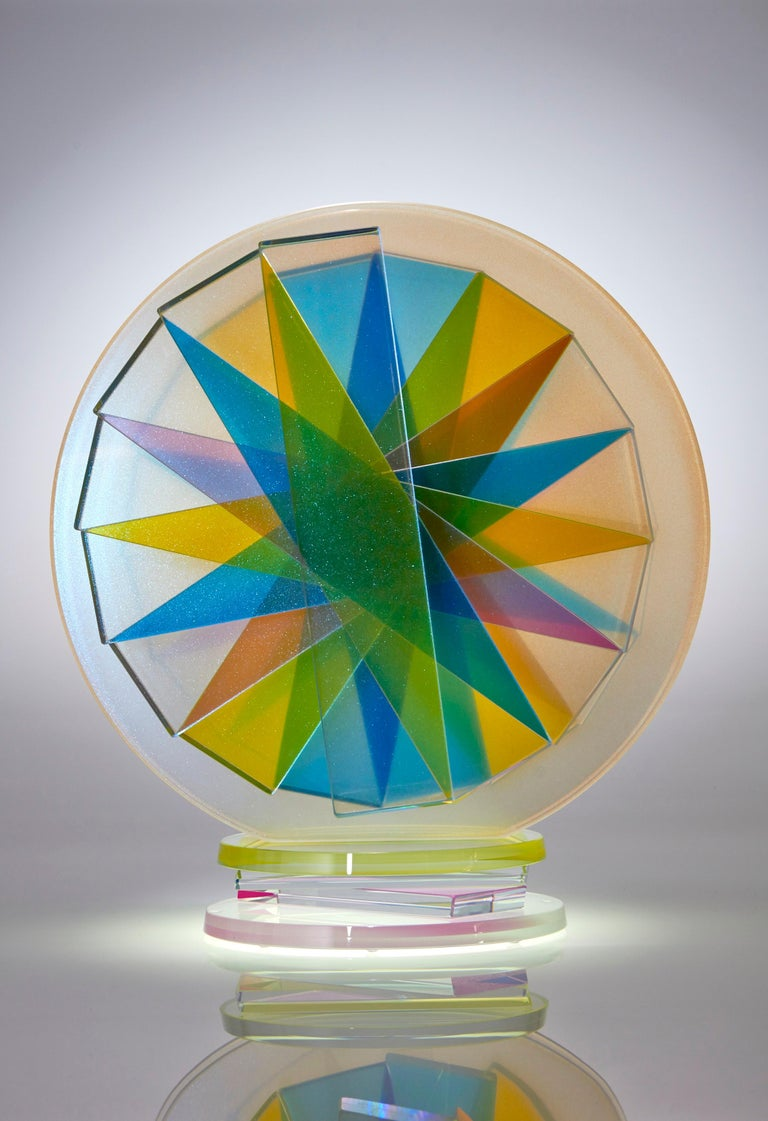 American Contemporary Colorful Plate Glass Tabletop Sculpture For Sale