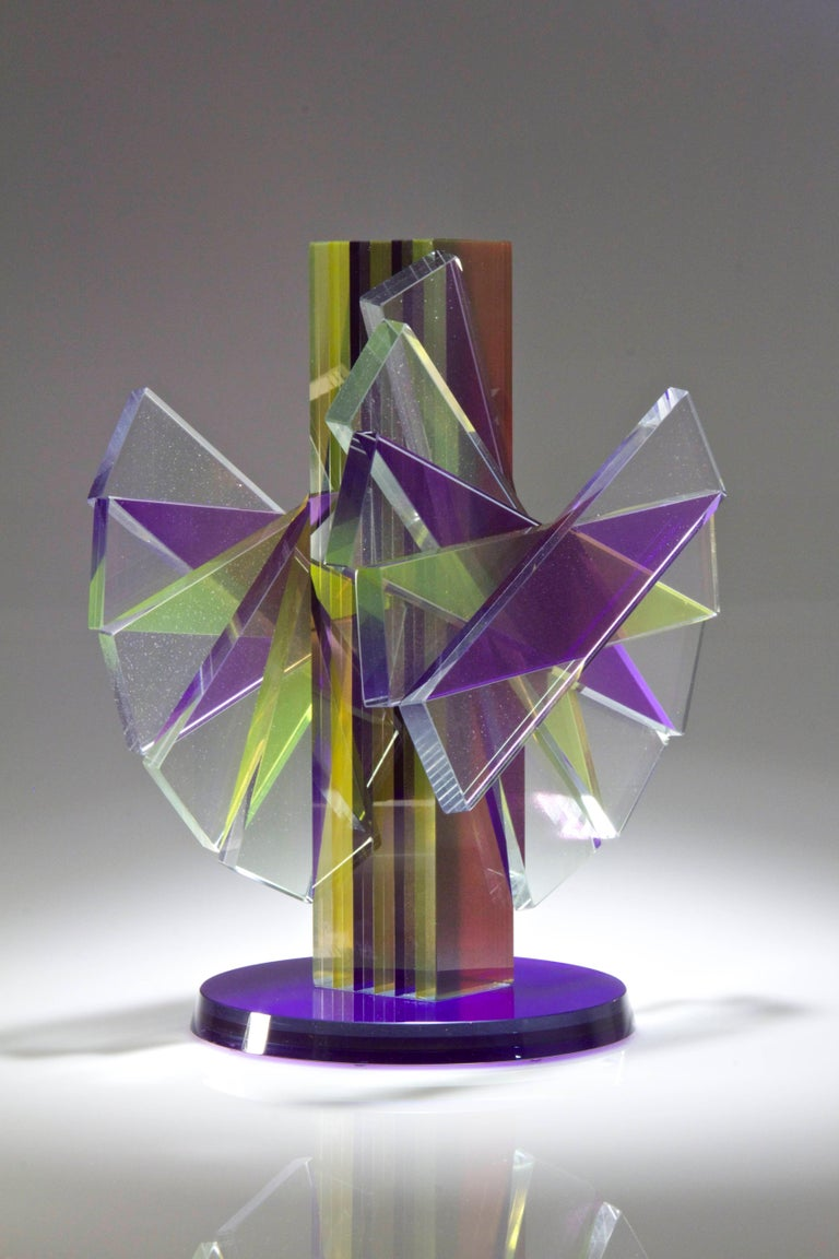 Hand-Crafted Colorful Pigmented Laminated Plate Glass Contemporary Sculpture For Sale