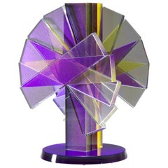 Purple & Yellow Plate Glass Contemporary Tabletop Sculpture