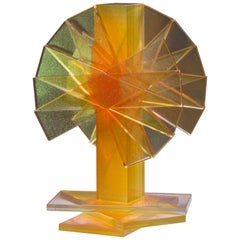 Gold and Yellow Plate Glass Contemporary Tabletop Sculpture