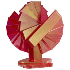 Red and Gold Plate Glass Contemporary Tabletop Sculpture