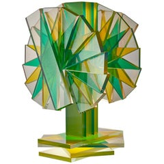 Green & Yellow Plate Glass Contemporary Tabletop Sculpture
