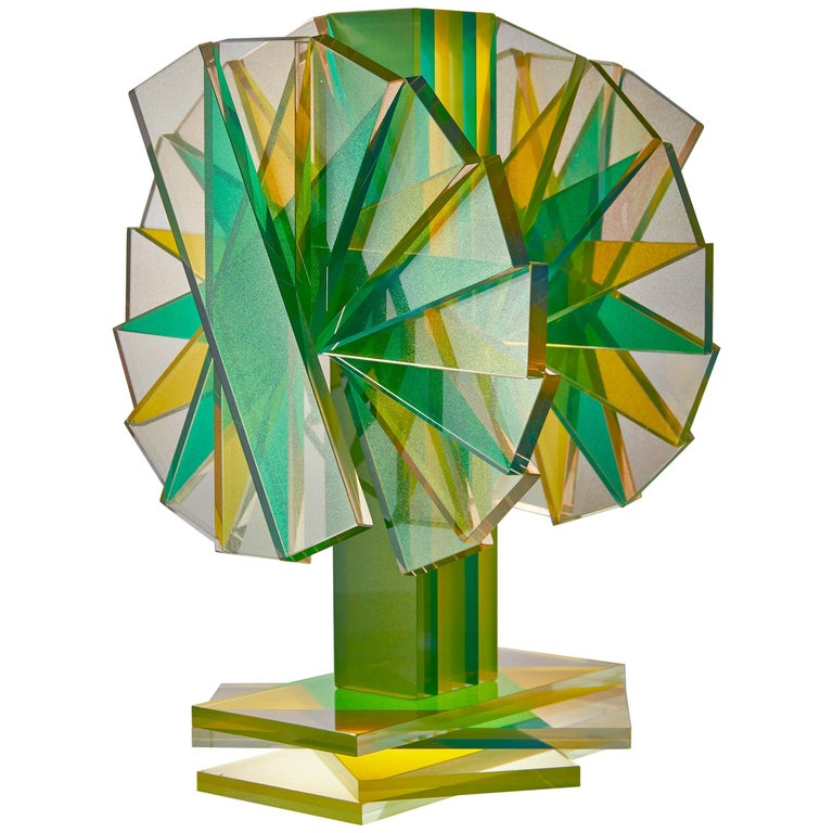 Green & Yellow Plate Glass Contemporary Tabletop Sculpture For Sale