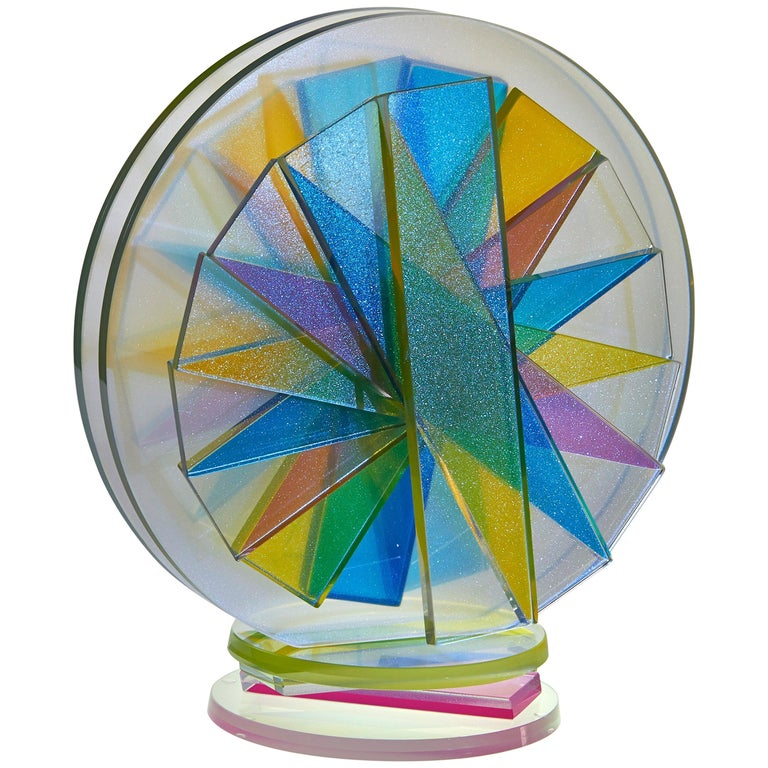 Contemporary Colorful Plate Glass Tabletop Sculpture For Sale