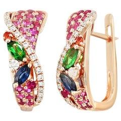 Colorful Pink Sapphire Emerald Ruby Tsavorite Diamond Rose Gold Drop Earrings