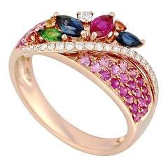Colorful Pink Sapphire Emerald Ruby Tsavorite Diamond Rose Yellow Gold Ring