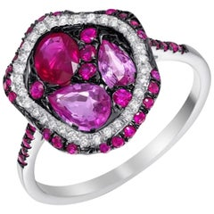 Colorful Pink Sapphire Ruby Diamond Cocktail White 14 Karat Gold Ring for Her