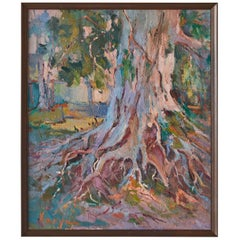 Colorful Plein Air Landscape Painting of The Base of a Tree