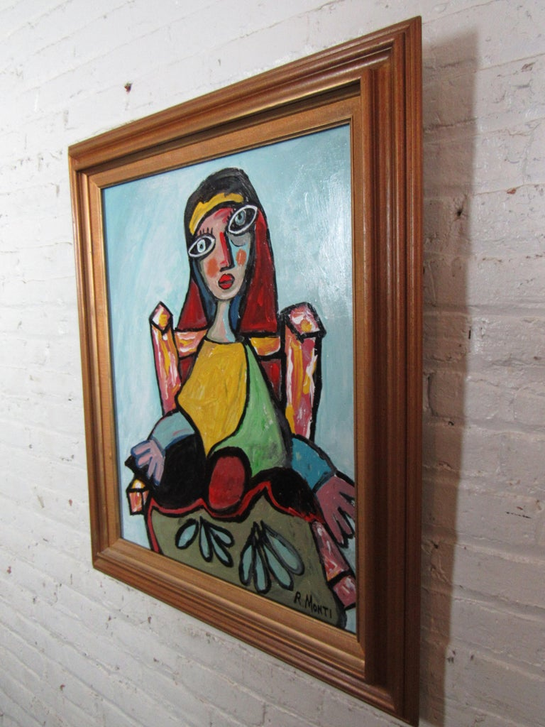 An expressive portrait rendered in thick vibrant oil paint and geometric forms, by Pennsylvania-based artist R. Monti. Signed by the artist and held in an ornate wooden frame. Please confirm item location with seller (NY/NJ).