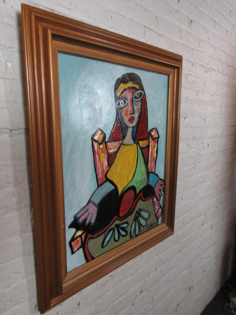 Other Colorful Portrait Painting by R. Monti For Sale